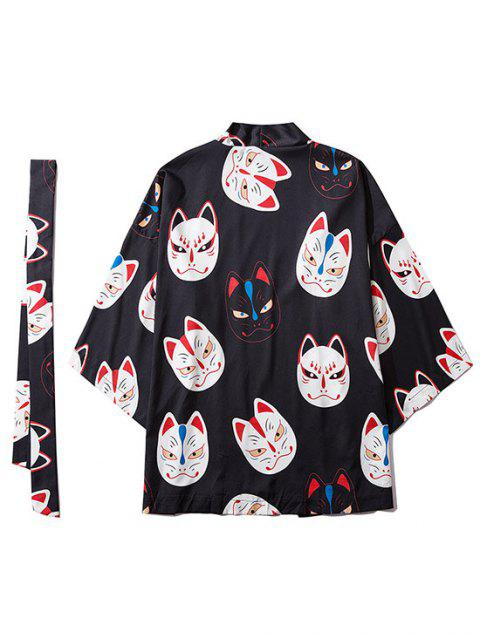 womens Japanese Style Cat Face Mask Print Open Front Kimono Cardigan - BLACK M Mobile
