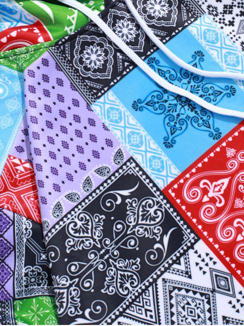 ladies Bandana Tribal Print Casual Kangaroo Pocket Hoodie - MULTI-A 2XL Mobile