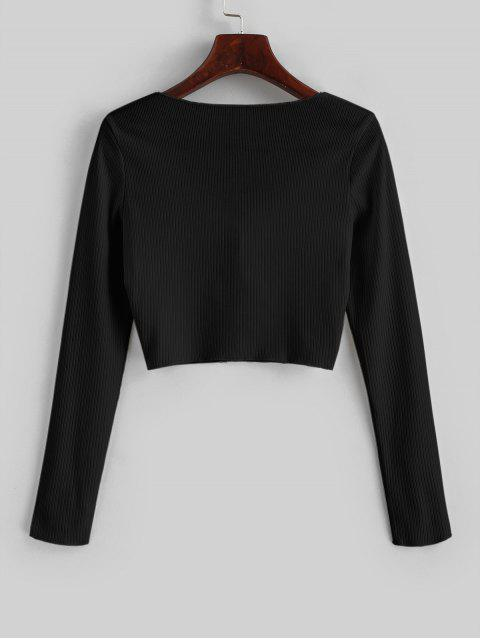 outfit Ribbed Tie Front Cropped Tee - BLACK S Mobile