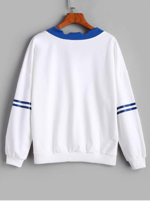 lady Stripe Panel Ripped Trim Drop Shoulder Embroidered Sweatshirt - WHITE M Mobile