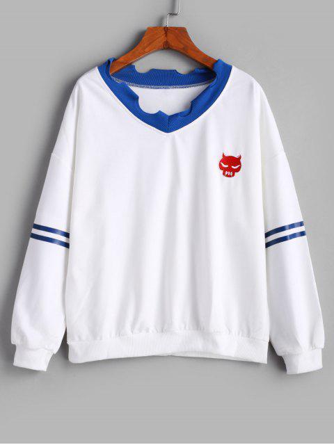 Panel raya rasgado recorte gota del hombro bordó la camiseta - Blanco L Mobile