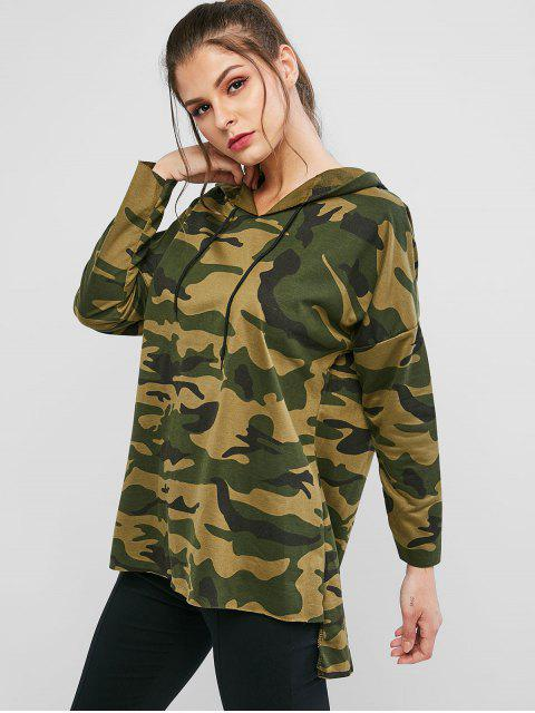 shop Drawstring High Low Camouflage Longline Hoodie - ACU CAMOUFLAGE XL Mobile