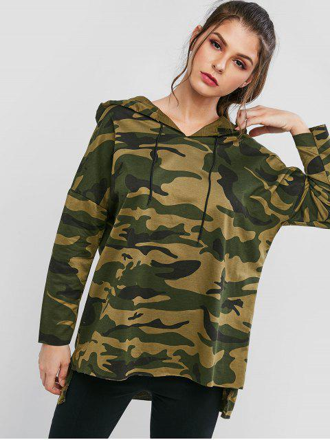 shops Drawstring High Low Camouflage Longline Hoodie - ACU CAMOUFLAGE 2XL Mobile