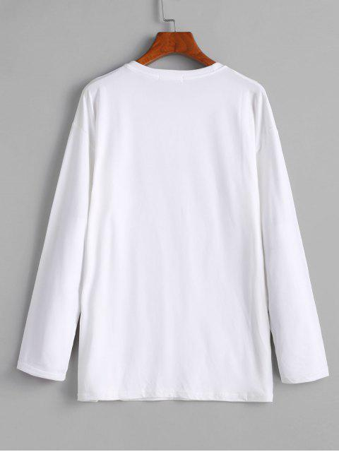 new Planet Print Long Sleeve Drop Shoulder Tee - WHITE M Mobile