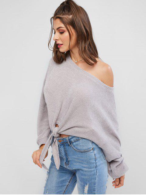 lady ZAFUL Self-tie Oversized Sweater - GRAY CLOUD L Mobile