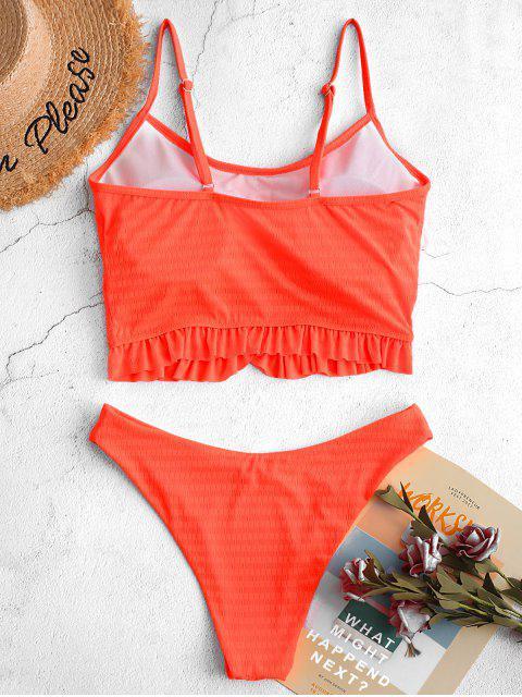 ZAFUL霓虹燈荷葉邊質感的高切Tankini泳裝 - 橙子 L Mobile