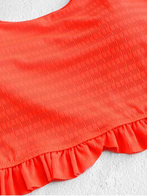 ZAFUL neón Frilled textura High Cut Tankini del traje de baño - Naranja S Mobile