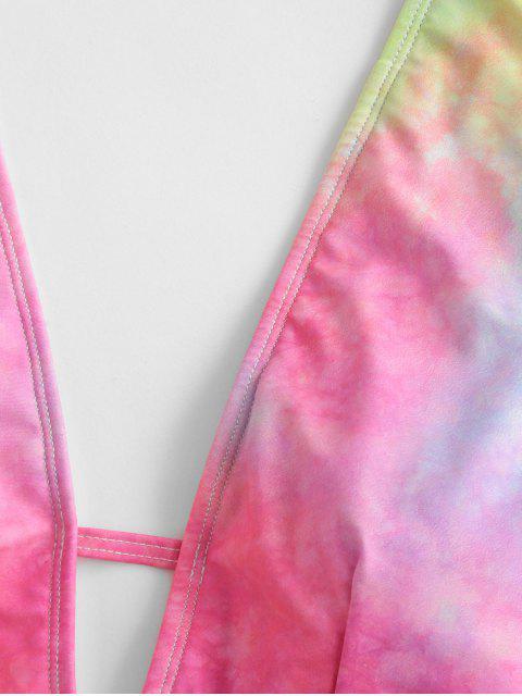 buy ZAFUL Tie Dye Plunging Open Back One-piece Swimsuit - MULTI-A M Mobile