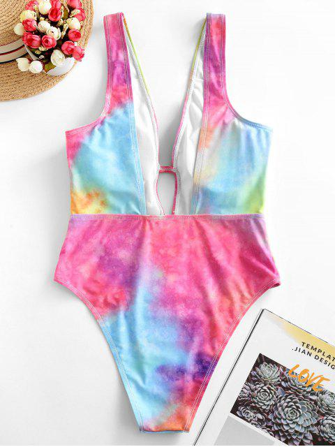 lady ZAFUL Tie Dye Plunging Open Back One-piece Swimsuit - MULTI-A L Mobile