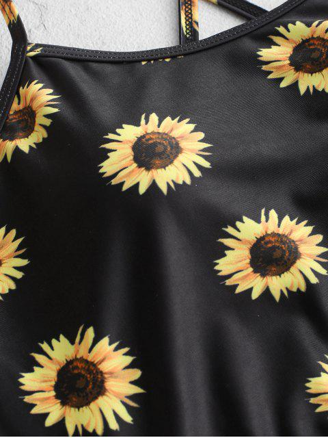 fashion ZAFUL Sunflower Lace-up Ruched Tankini Swimsuit - BLACK XL Mobile