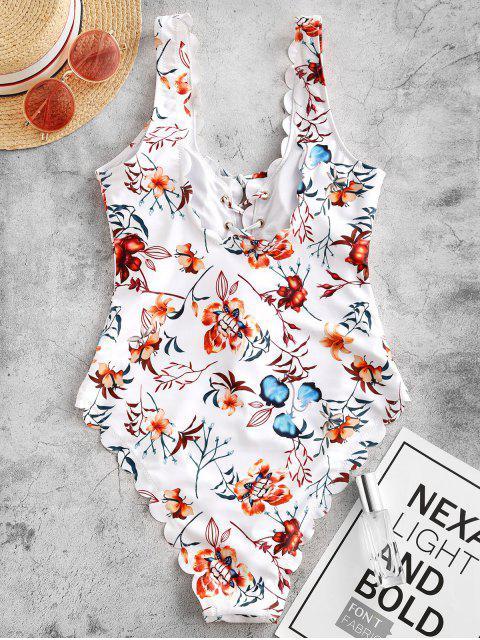 ZAFUL廠打印綁帶扇形連體泳衣 - 白色 S Mobile