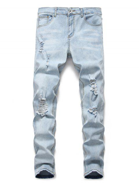 shop Light Wash Distressed Decoration Casual Jeans - JEANS BLUE M Mobile