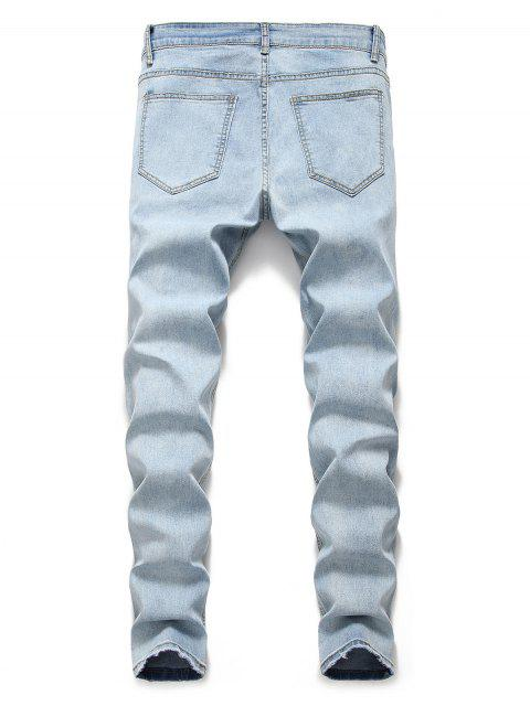 fashion Light Wash Distressed Decoration Casual Jeans - JEANS BLUE 3XL Mobile