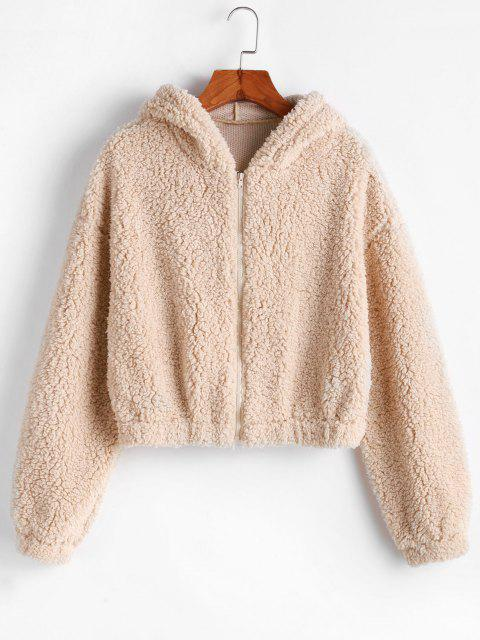 affordable ZAFUL Hooded Zip Up Fluffy Teddy Jacket - LIGHT KHAKI L Mobile