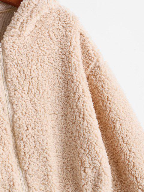 womens ZAFUL Hooded Zip Up Fluffy Teddy Jacket - LIGHT KHAKI S Mobile