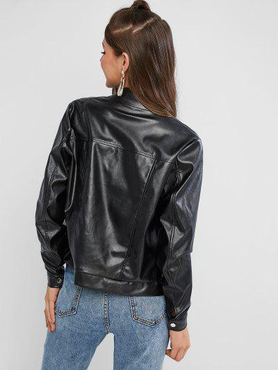 ZAFUL Zip Up Faux Leather Jacket, Black