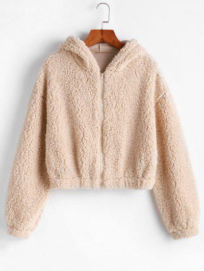 ZAFUL Hooded Zip Up Fluffy Teddy Jacket - Light Khaki M