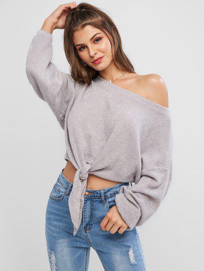 ZAFUL Self-tie Oversized Sweater - Gray Cloud S