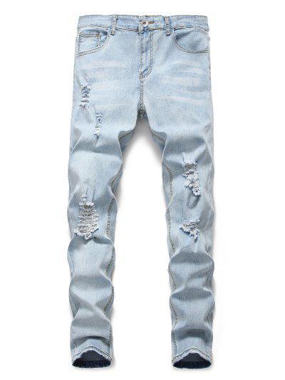 Licht Wash Distressed Dekoration Beiläufige Jeans - Jeans Blau Xl
