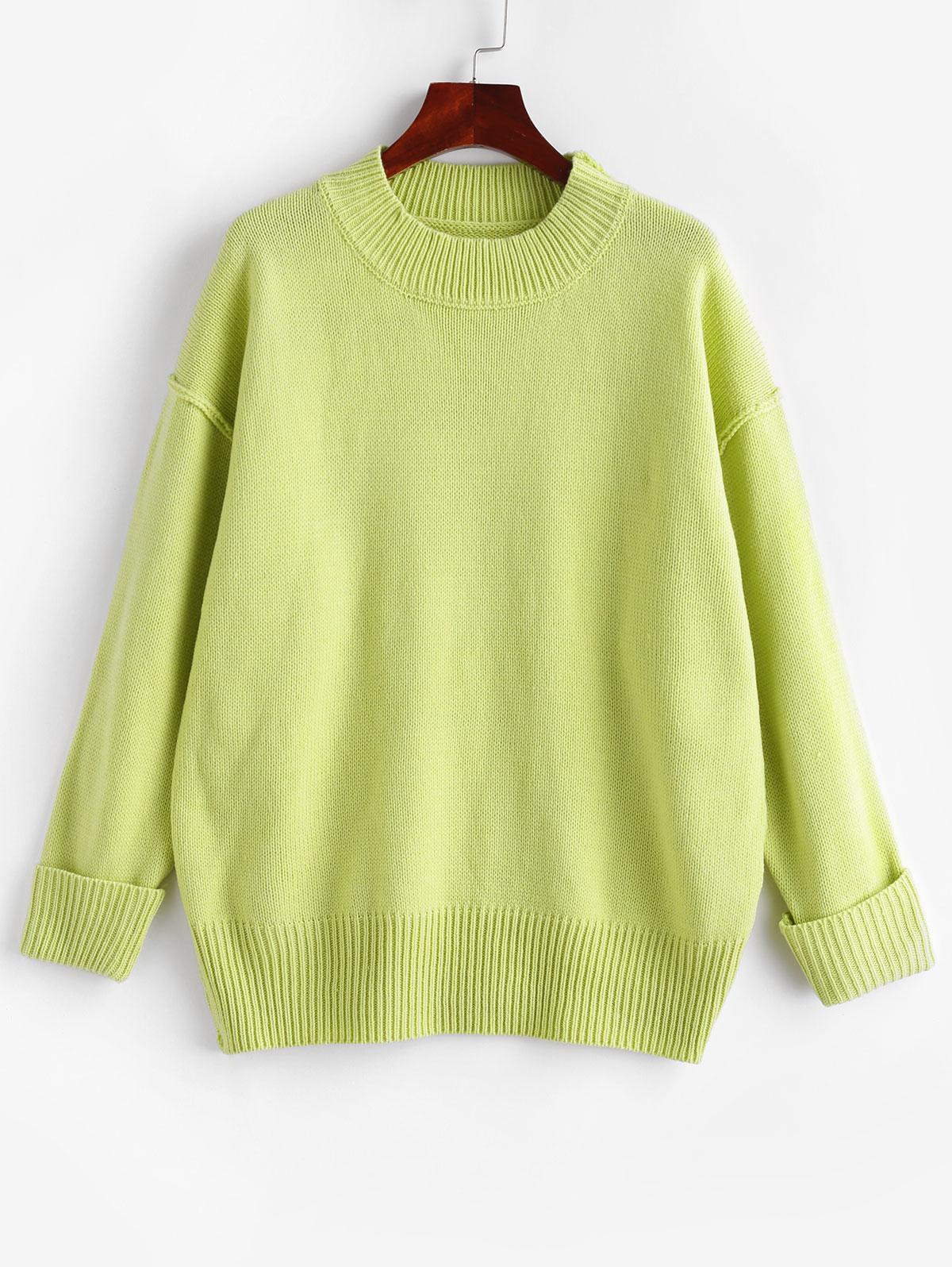 Plain Mock Neck Cuff Sleeve Drop Shoulder Sweater, Green