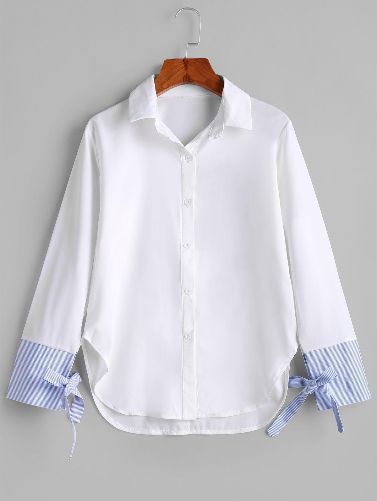 Button Down Stripes Panel Tie Sleeve Shirt, White