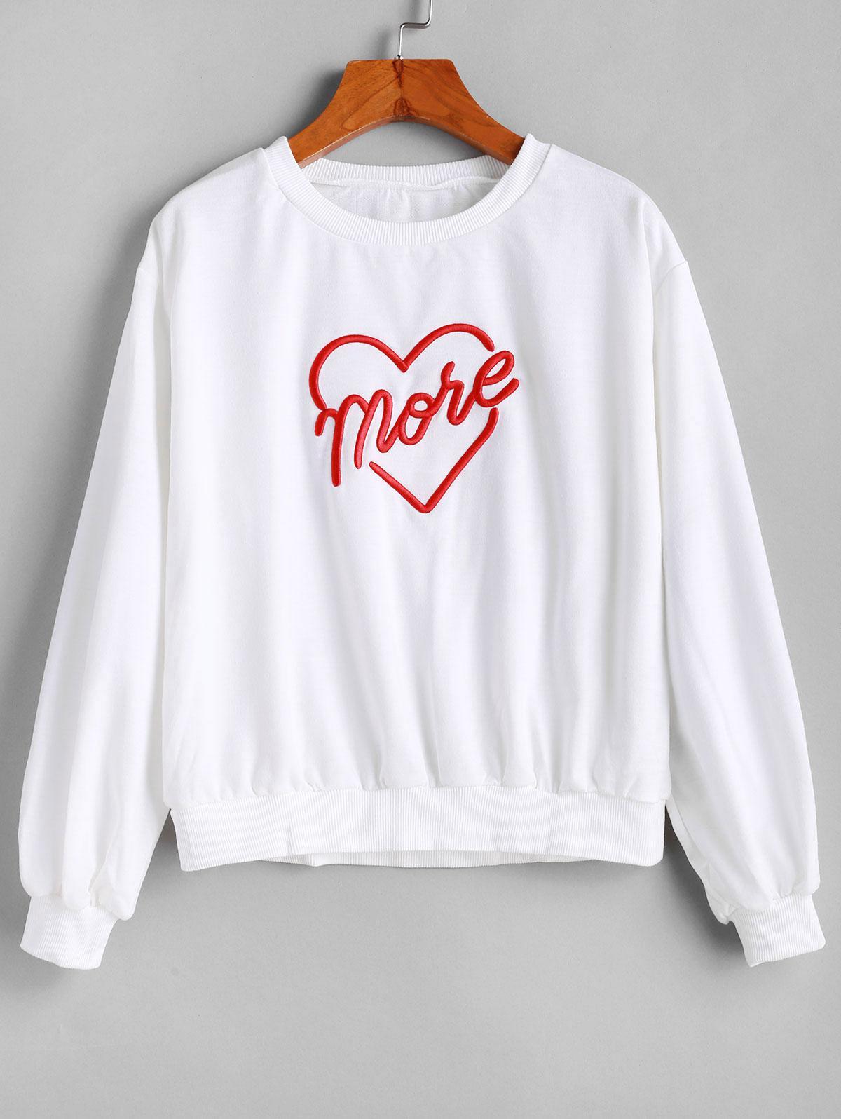 Heart Embroidered Drop Shoulder Ribbed Hem Sweatshirt