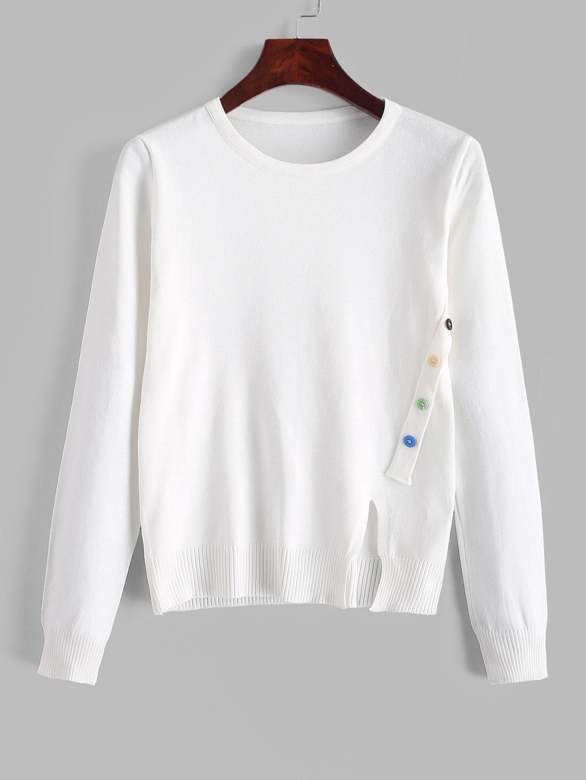 Button Embellished Front Slit Plain Knitwear