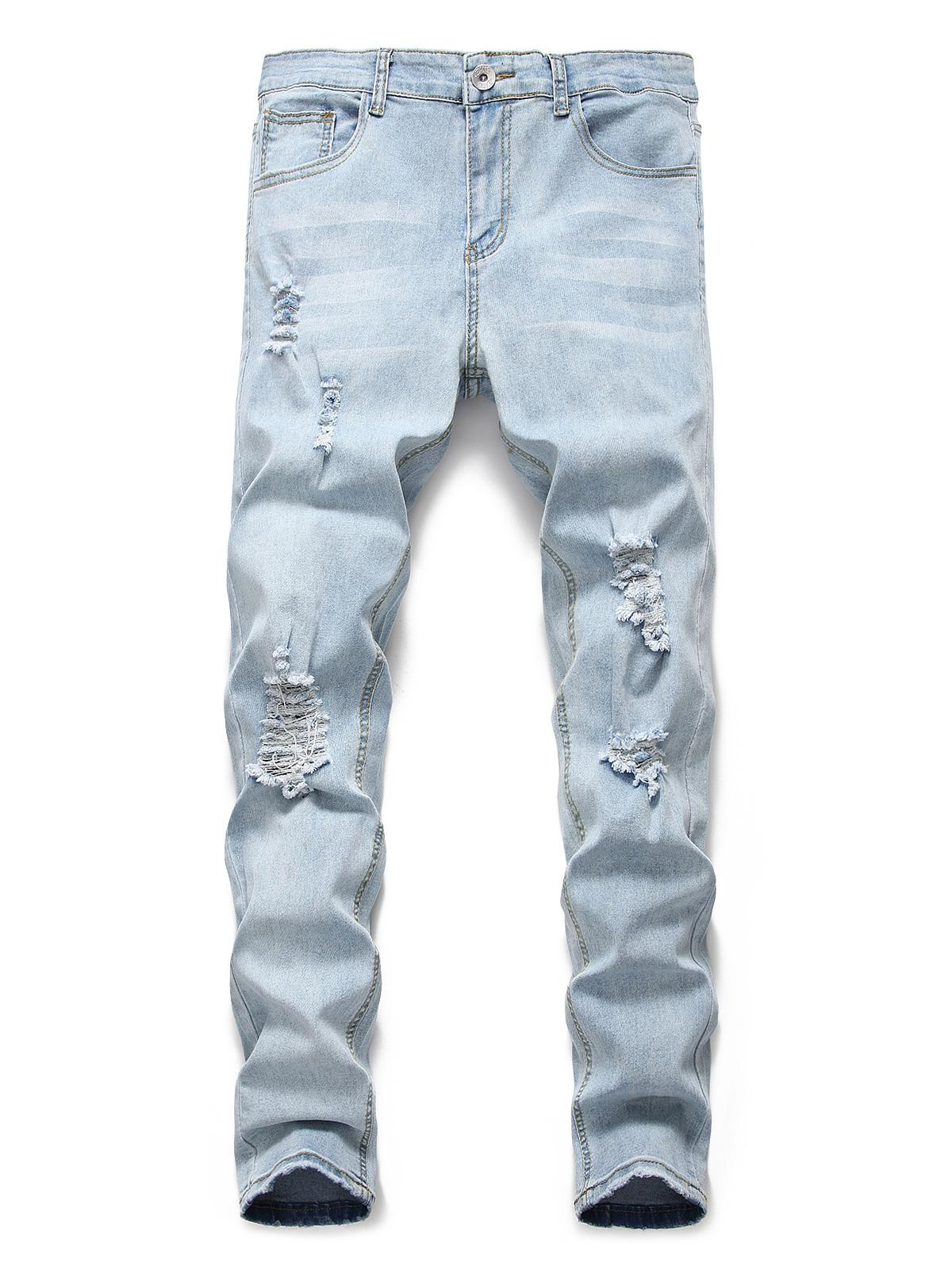Light Wash Distressed Decoration Casual Jeans