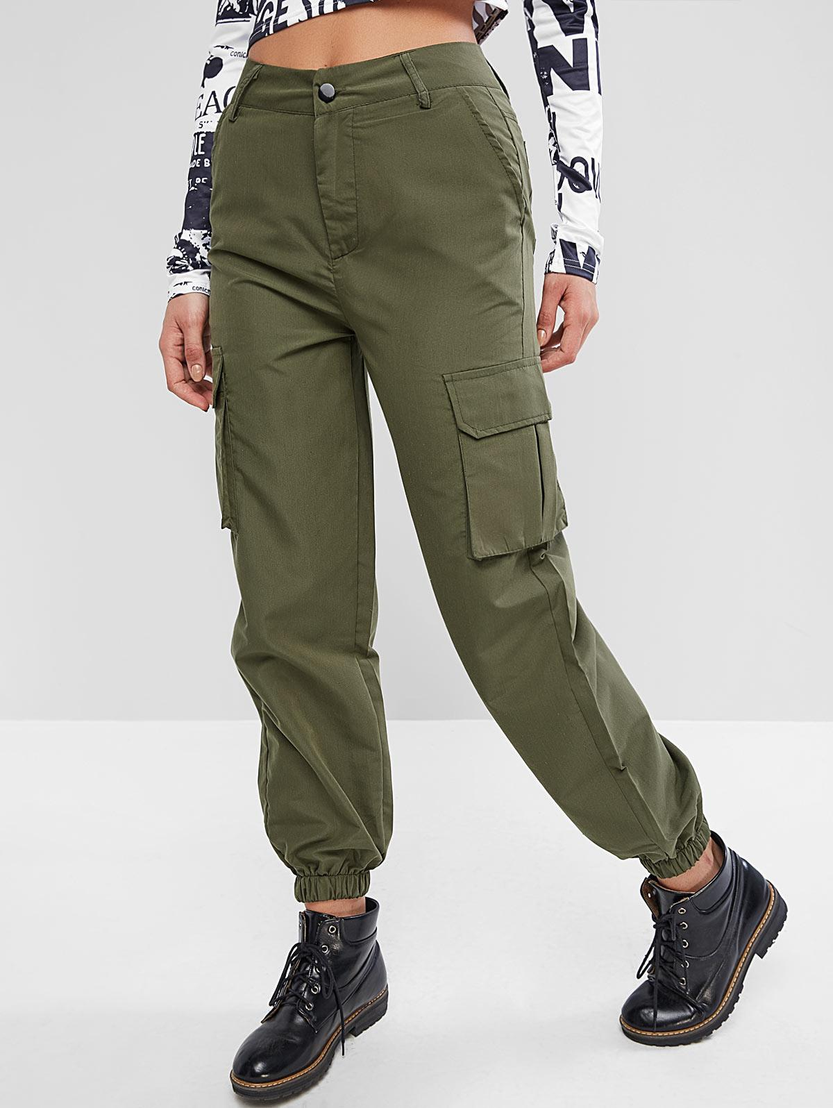 High Waisted Solid Jogger Pants, Army green