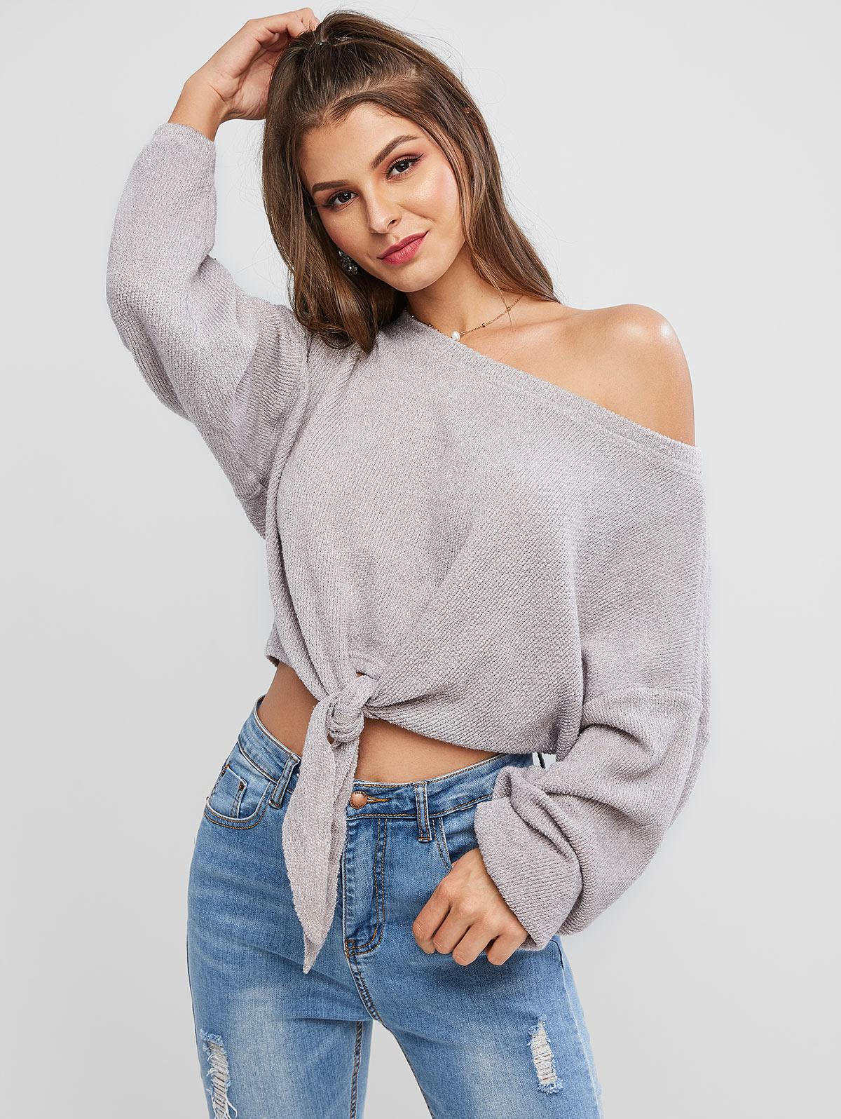ZAFUL Self-tie Oversized Sweater фото