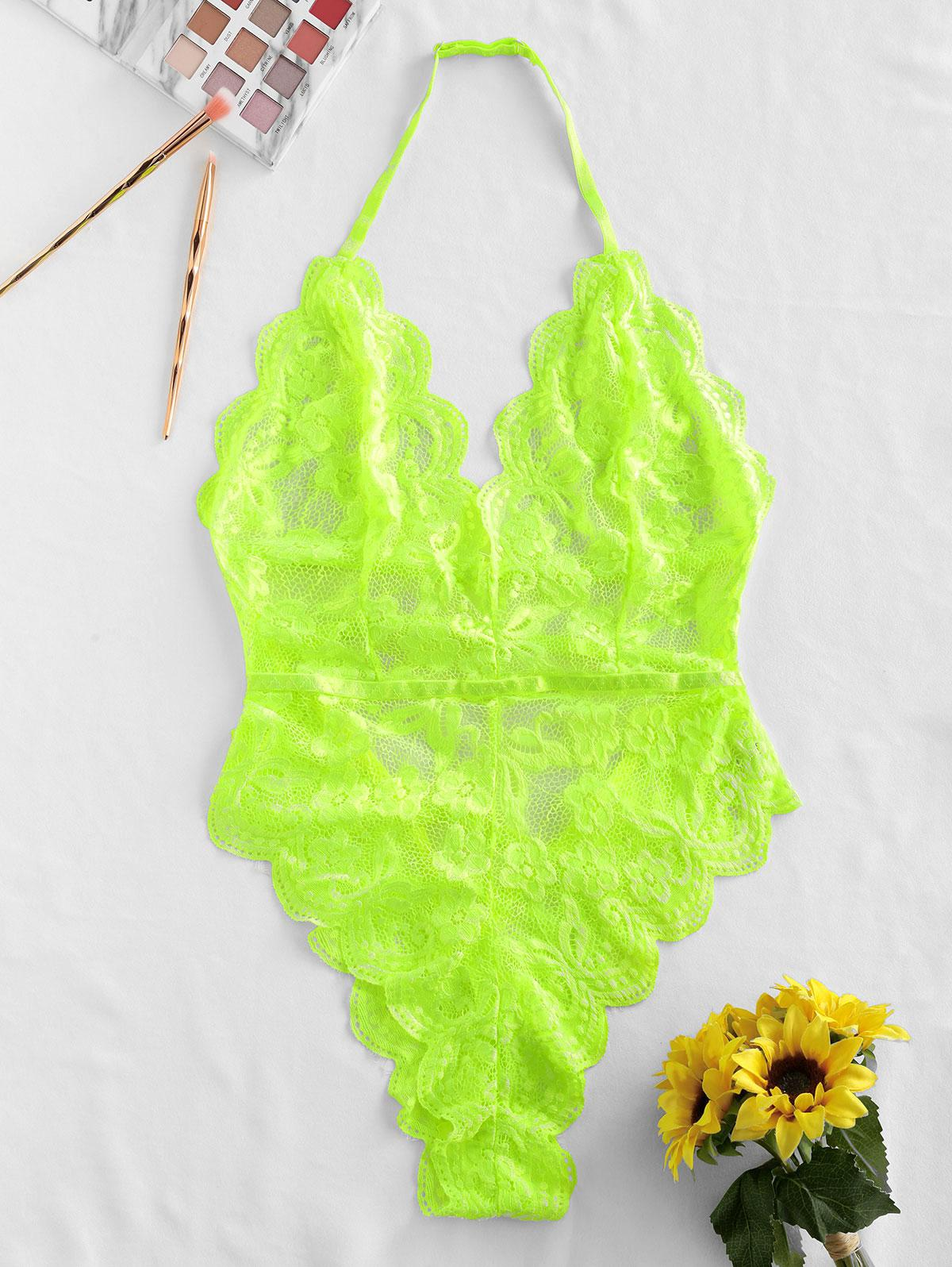 Halter Scalloped Lace Lingerie Teddy thumbnail