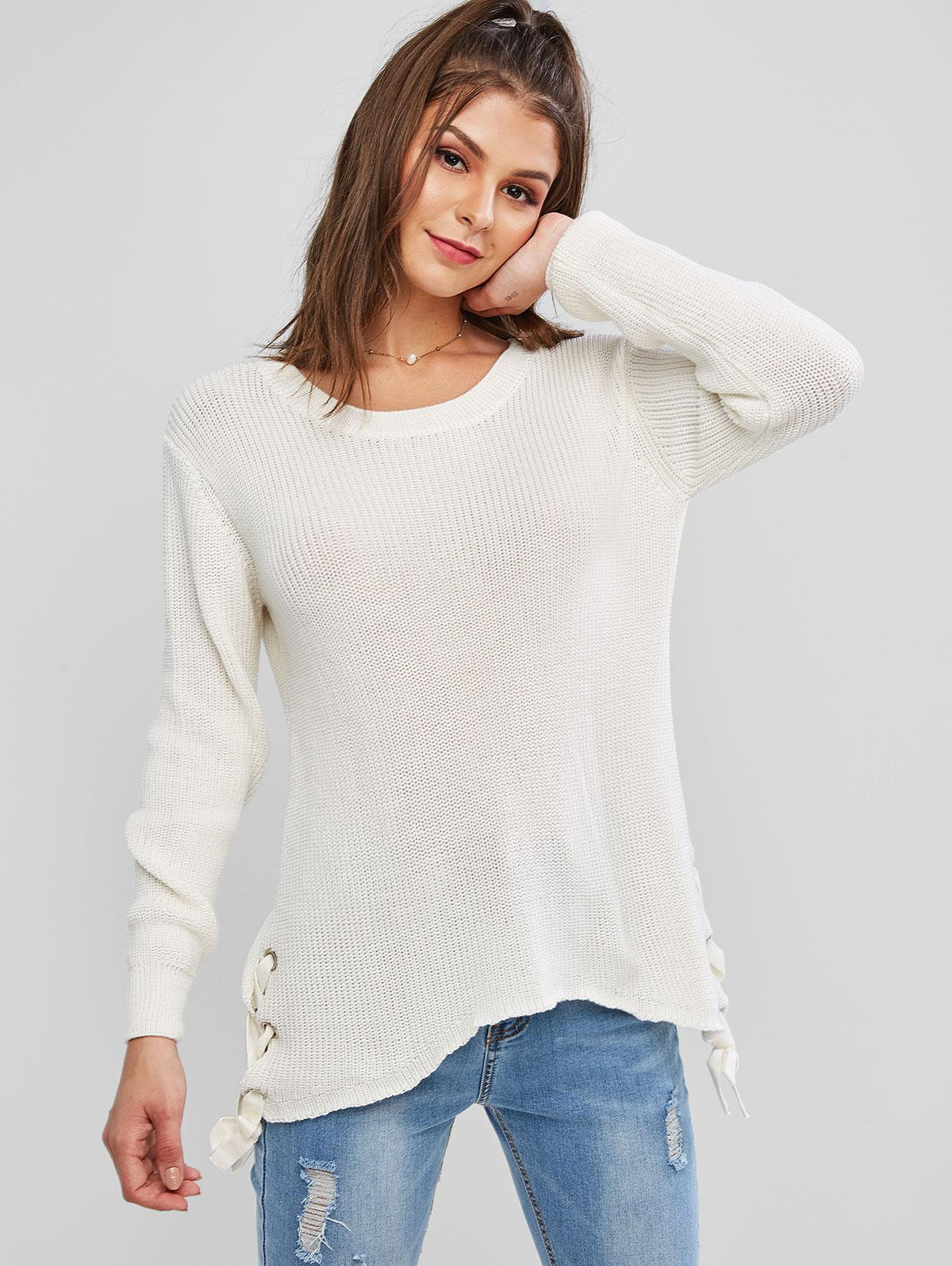 Grommet Lace Up Asymmetrical Textured Sweater