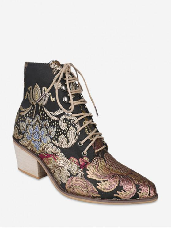 shop Flower Embroidery Lace Up Ankle Boots - ROSE GOLD EU 35
