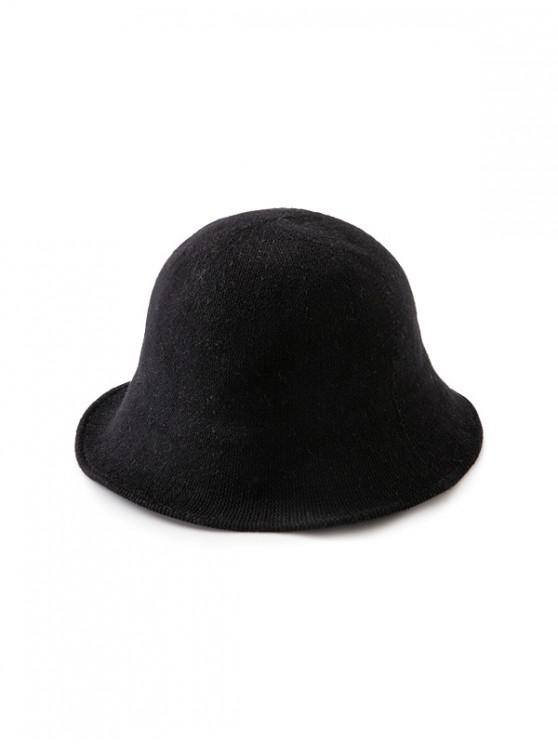 best Solid Color Round Top Knitted Hat - BLACK