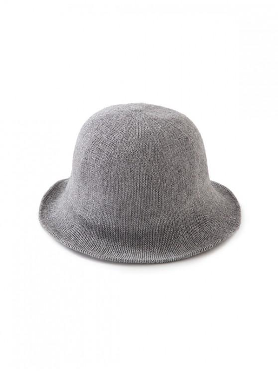 shop Solid Color Round Top Knitted Hat - GRAY