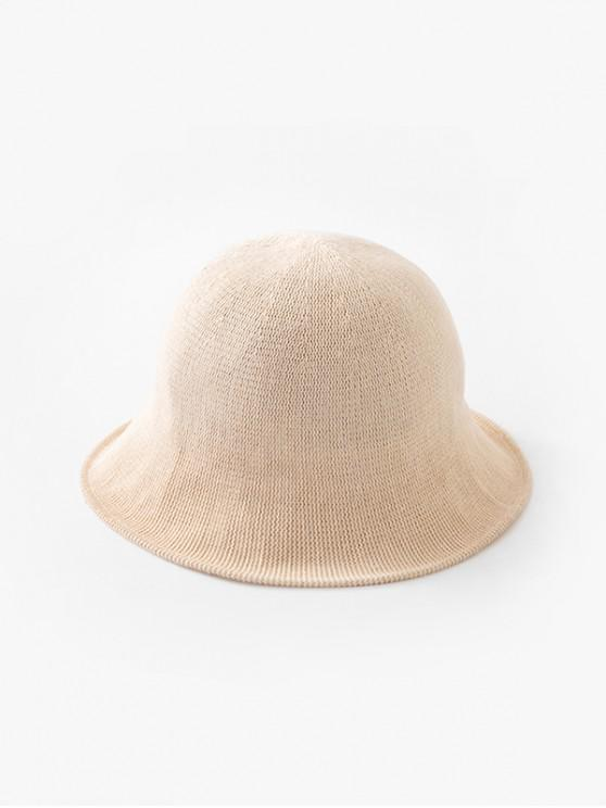 affordable Solid Color Round Top Knitted Hat - BEIGE