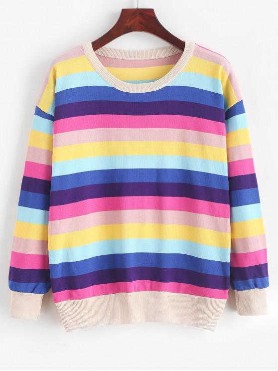 fashion Pullover Crew Neck Rainbow Stripes Sweater - MULTI-A ONE SIZE