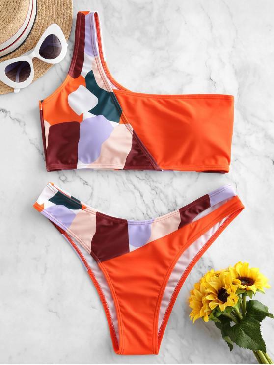 unique ZAFUL Patchwork One Shoulder Bikini Swimsuit - ORANGE L