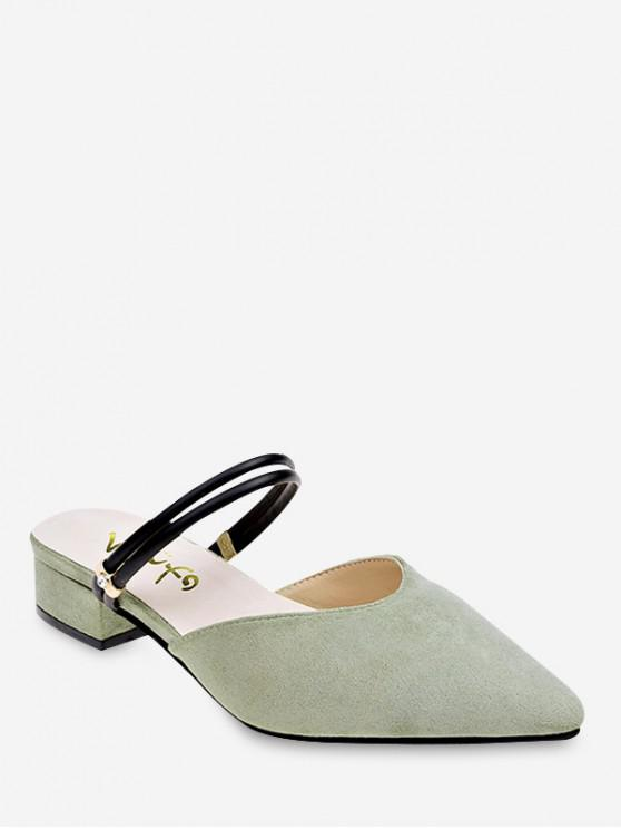 lady Low Chunky Heel Pointed Toe Sandals - PINE GREEN EU 40