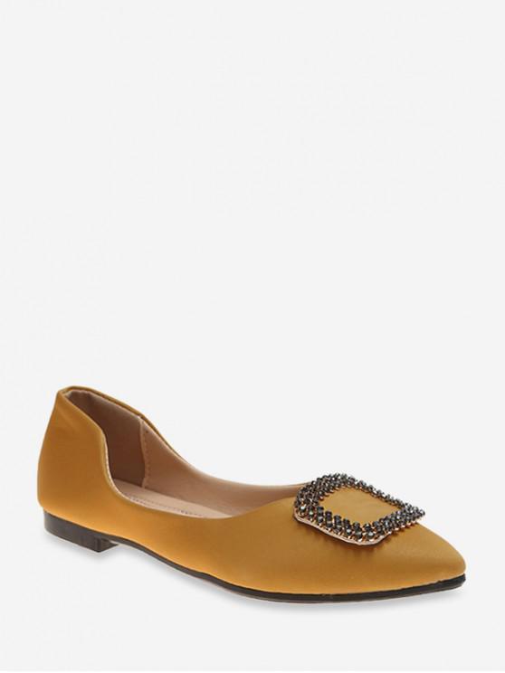 หัวเข็มขัดตกแต่งส้นแบนเท้าชี้รองเท้าลำลอง - สีเหลือง EU 36