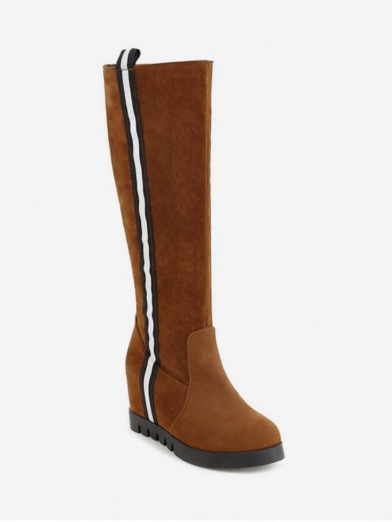 الجانب مخطط زيادة الداخلية أحذية الجلد المدبوغ الركبة عالية - البني الفاتح الاتحاد الأوروبي 37