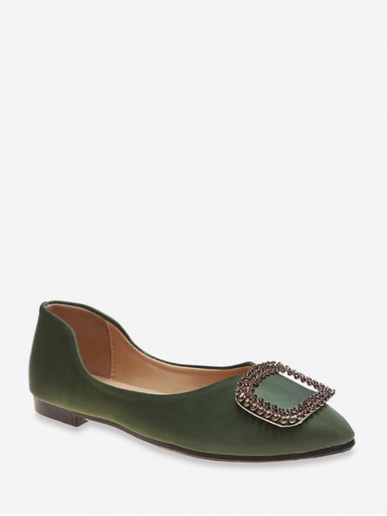 搭扣平底鞋跟尖頭休閒鞋 - 松樹綠色 歐盟39