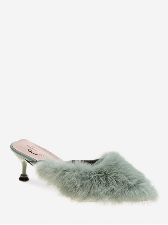 buy Faux Fur Pointed Toe Heeled Pumps - GREEN EU 37