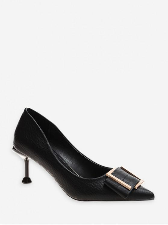 womens Simple Pointed Toe Buckle Decorated Pumps - BLACK EU 36