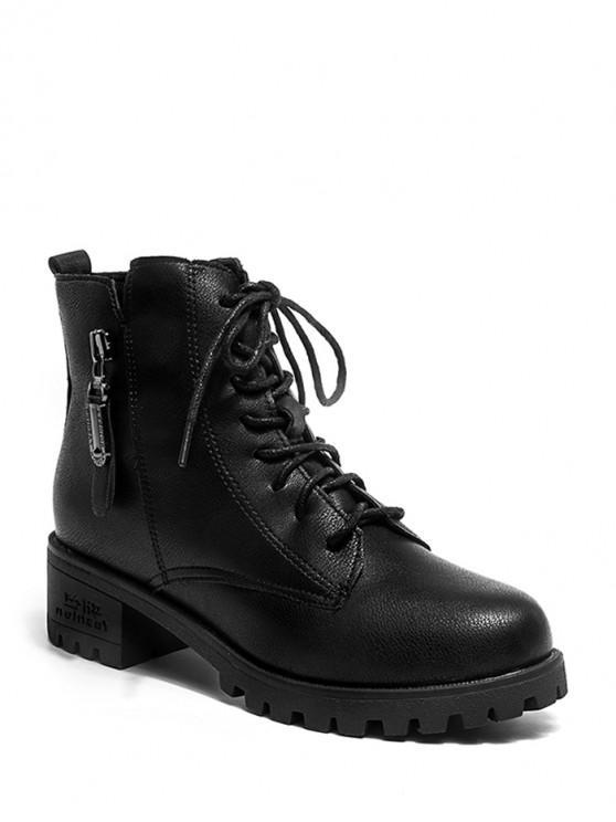 拉鍊口音繫帶踝靴 - 黑色 歐盟39