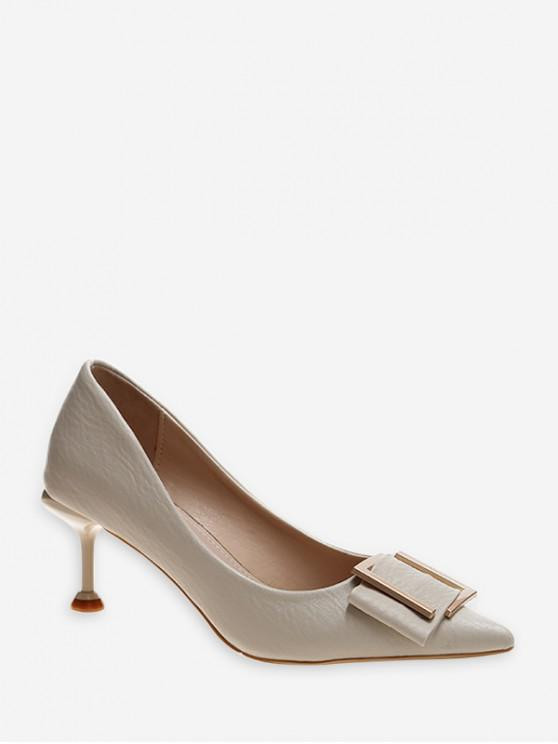 online Simple Pointed Toe Buckle Decorated Pumps - BEIGE EU 37