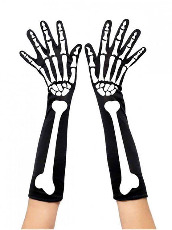 buy Halloween Skeleton Print Arm Gloves - BLACK
