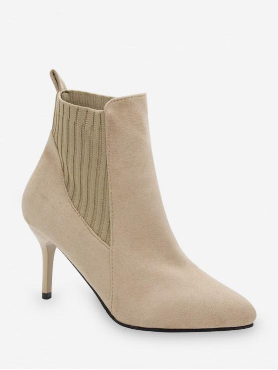 best Color Spliced Stiletto Heel Ankle Boots - APRICOT EU 36