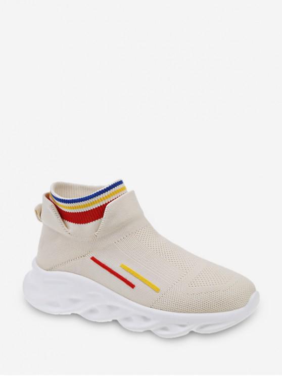 รองเท้าบูทกีฬาทอลายทาง - ผ้าขนสัตว์สีธรรมชาติ EU 37