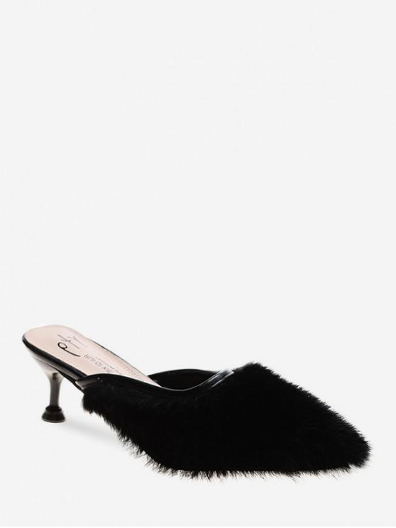 new Faux Fur Pointed Toe Heeled Pumps - BLACK EU 39